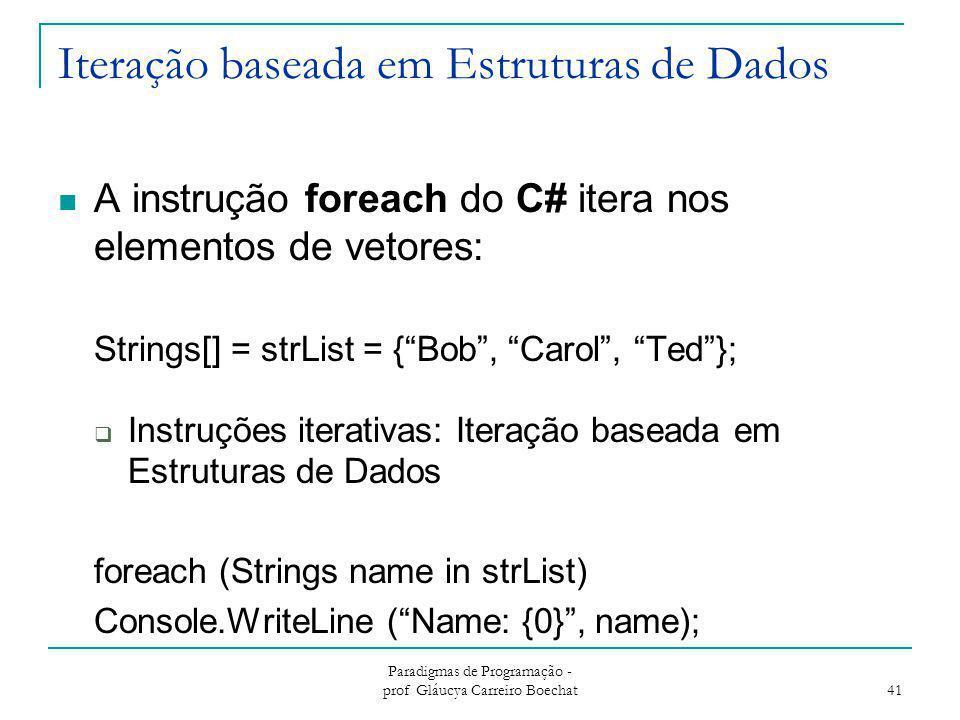 Iteração baseada em Estruturas de Dados