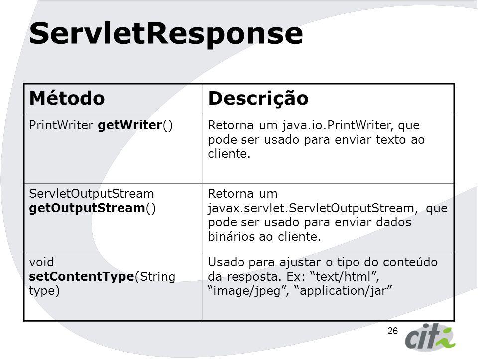 ServletResponse Método Descrição PrintWriter getWriter()