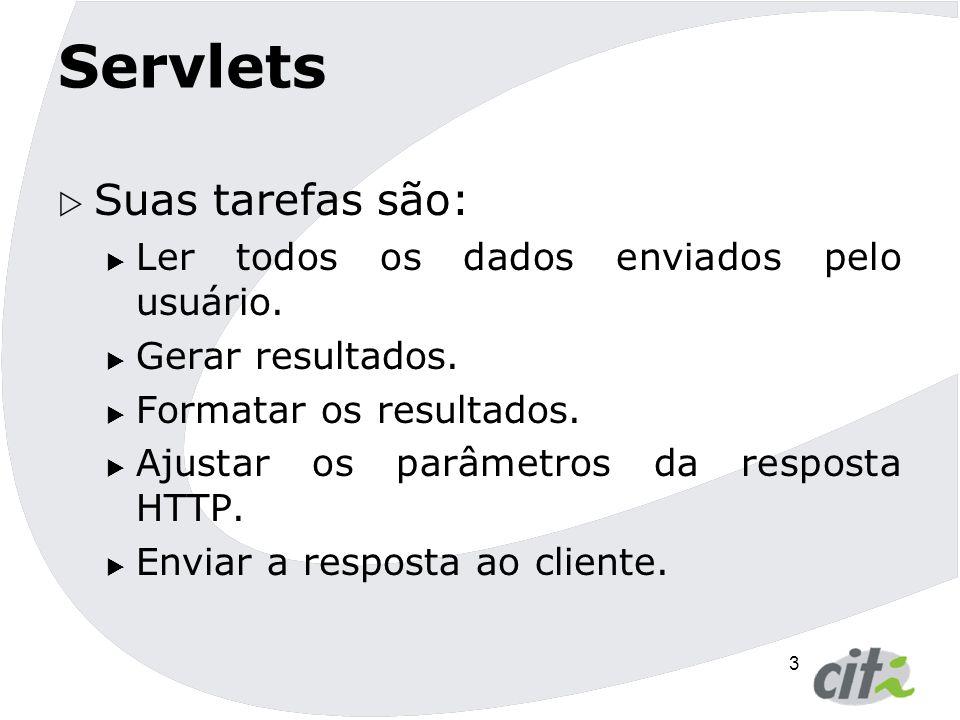 Servlets Suas tarefas são: Ler todos os dados enviados pelo usuário.