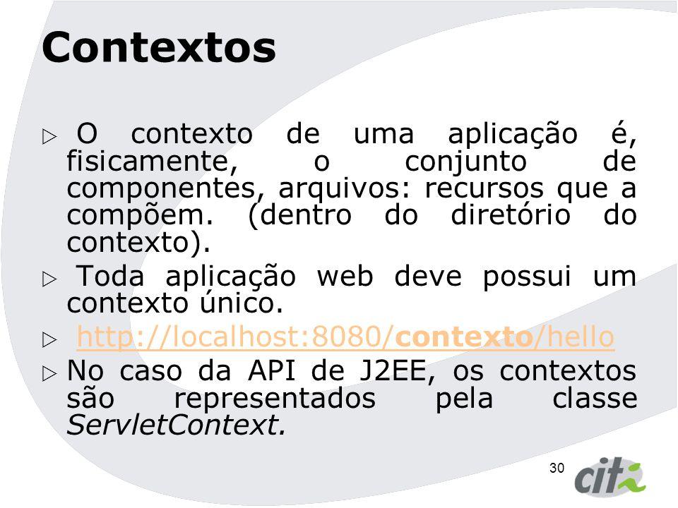 Contextos O contexto de uma aplicação é, fisicamente, o conjunto de componentes, arquivos: recursos que a compõem. (dentro do diretório do contexto).