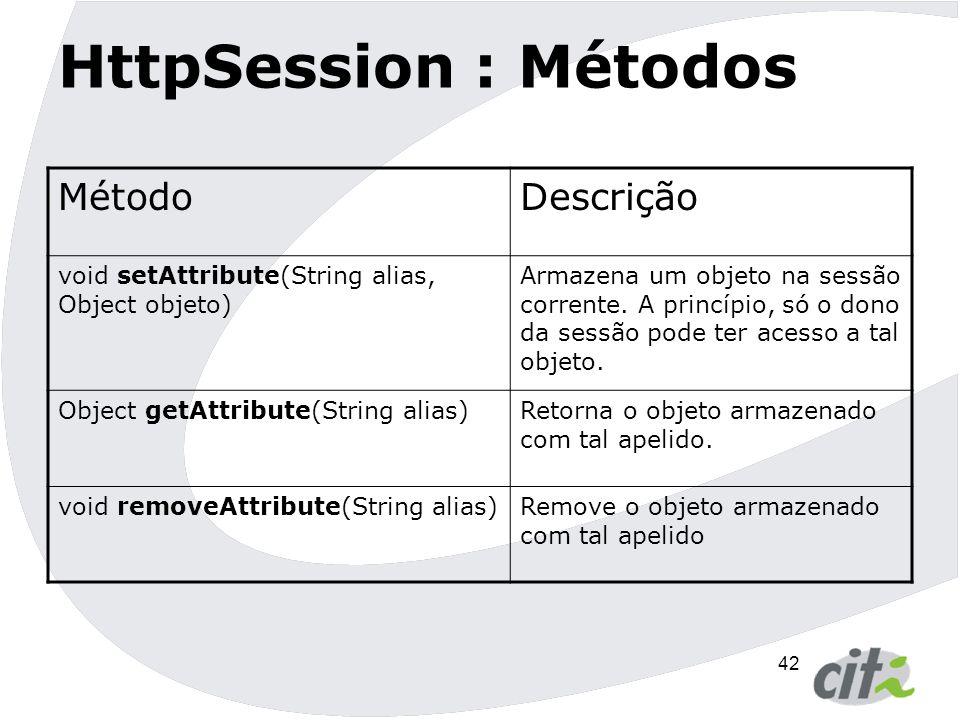 HttpSession : Métodos Método Descrição