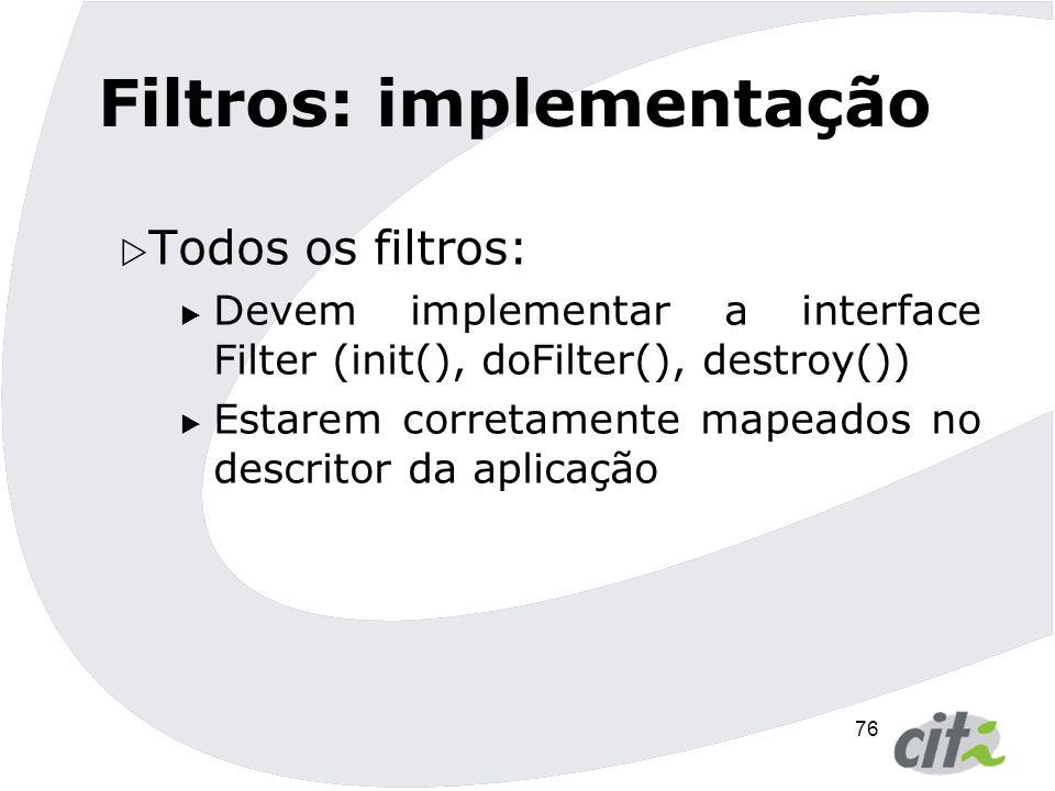 Filtros: implementação