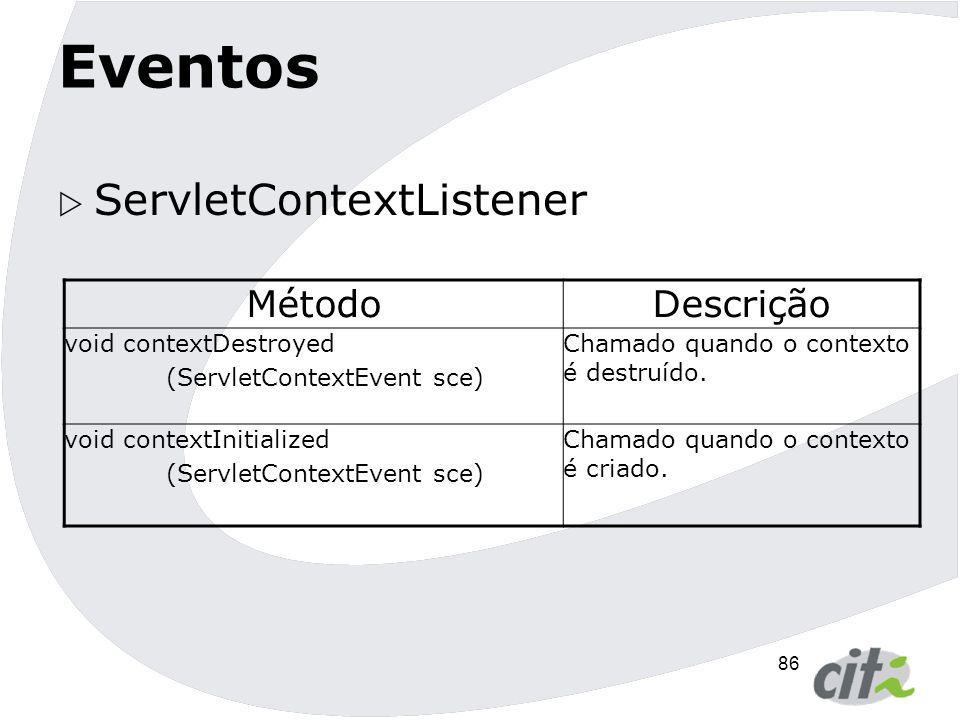 Eventos ServletContextListener Método Descrição void contextDestroyed