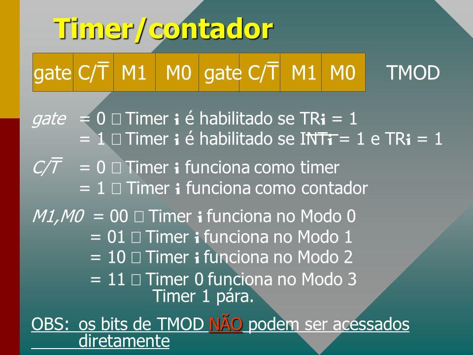 Timer/contador gate C/T M1 M0 gate C/T M1 M0 TMOD