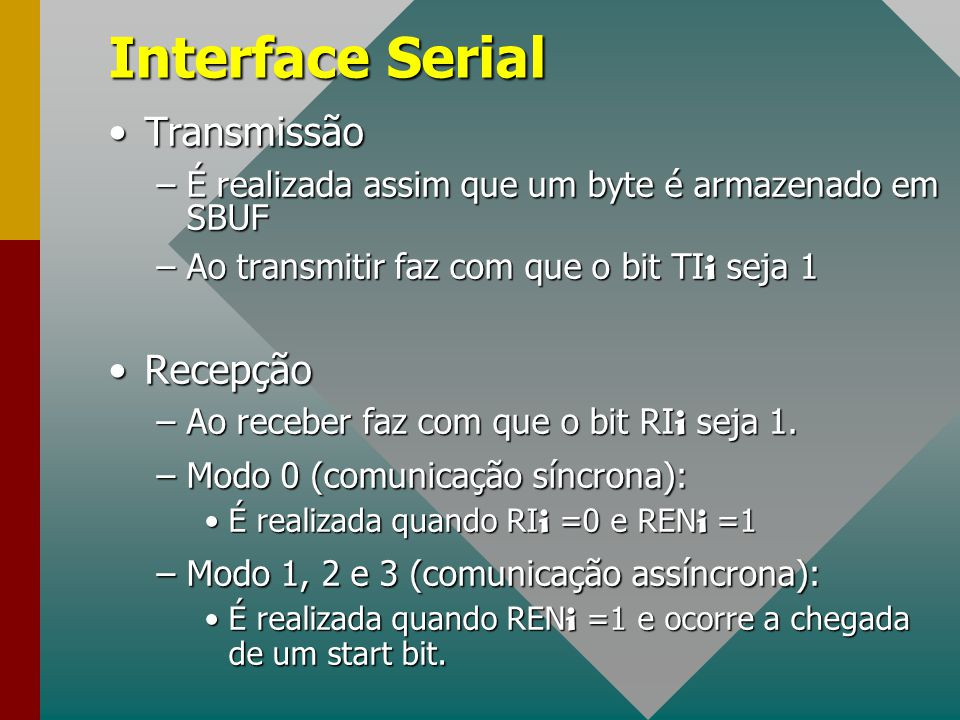 Interface Serial Transmissão Recepção