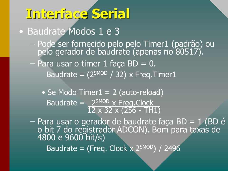 Interface Serial Baudrate Modos 1 e 3