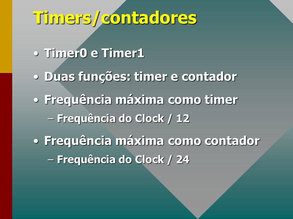 Timers/contadores Timer0 e Timer1 Duas funções: timer e contador