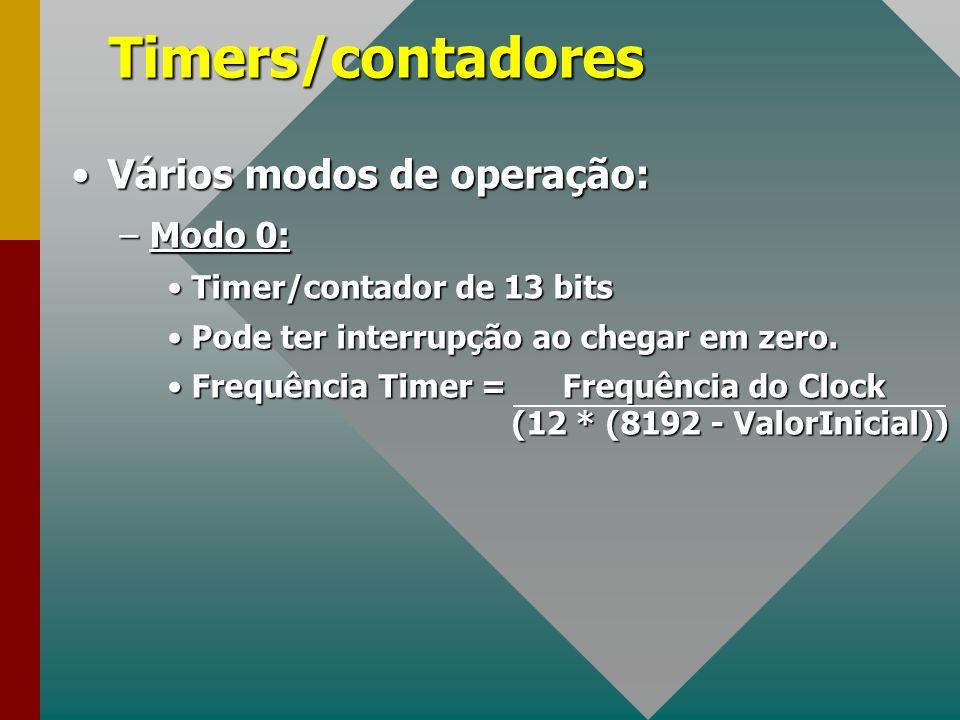 Timers/contadores Vários modos de operação: Modo 0: