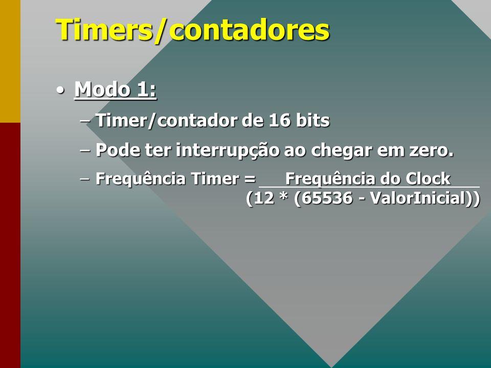 Timers/contadores Modo 1: Timer/contador de 16 bits