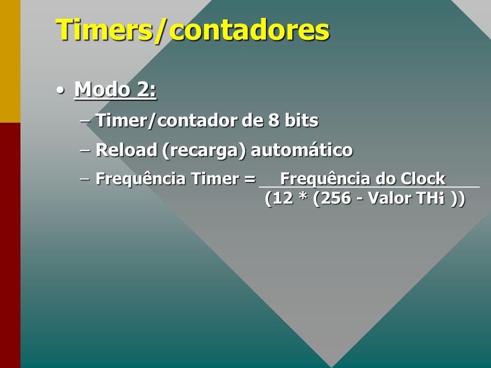 Timers/contadores Modo 2: Timer/contador de 8 bits