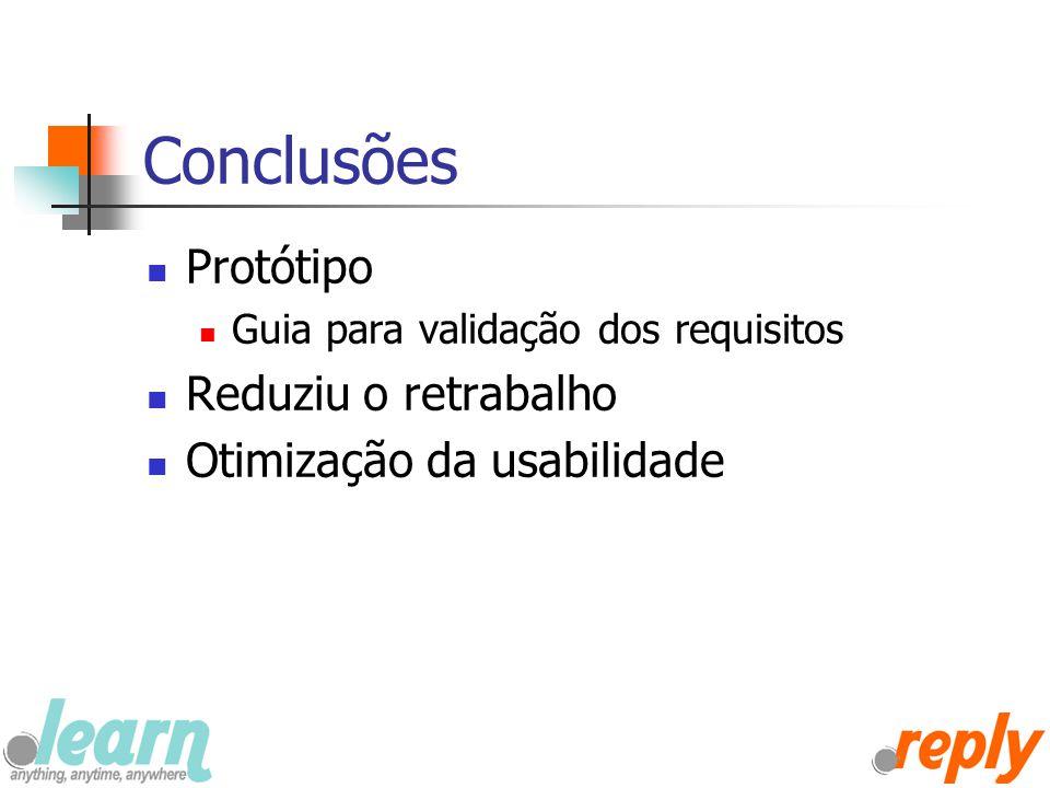 Conclusões Protótipo Reduziu o retrabalho Otimização da usabilidade