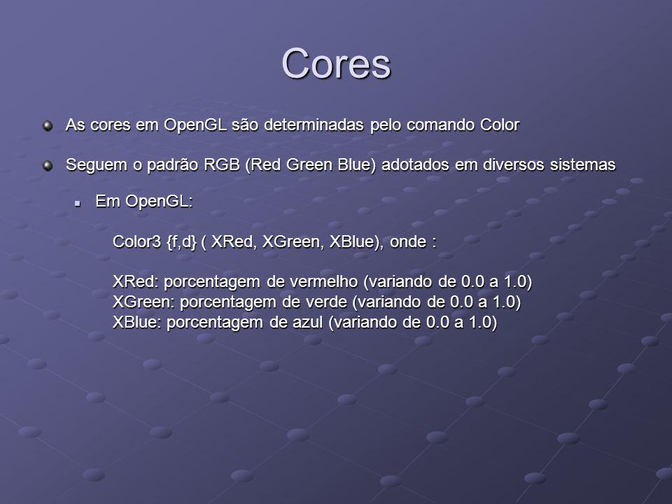 Cores As cores em OpenGL são determinadas pelo comando Color