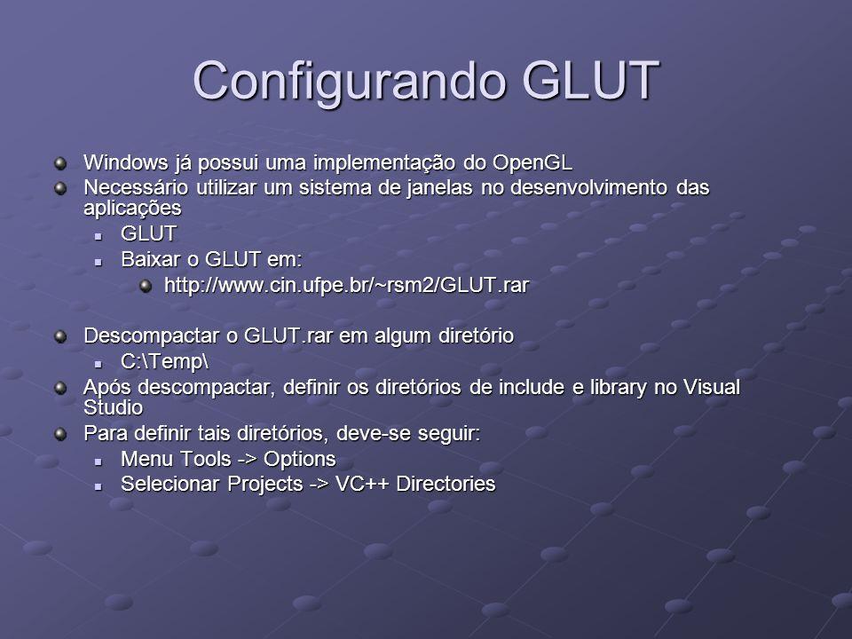 Configurando GLUT Windows já possui uma implementação do OpenGL