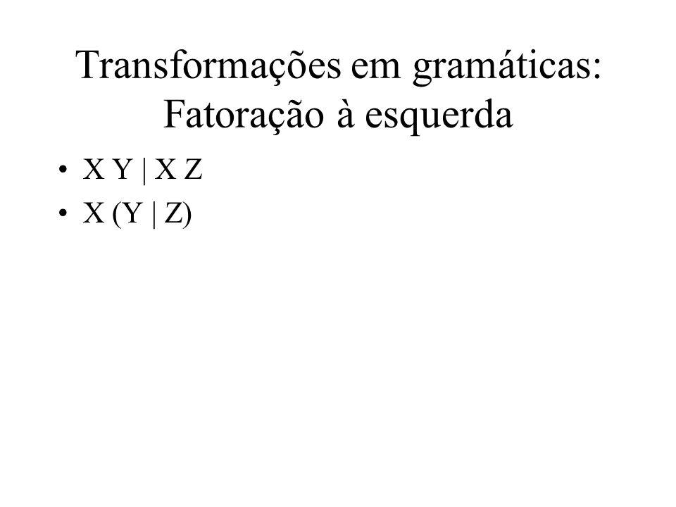 Transformações em gramáticas: Fatoração à esquerda