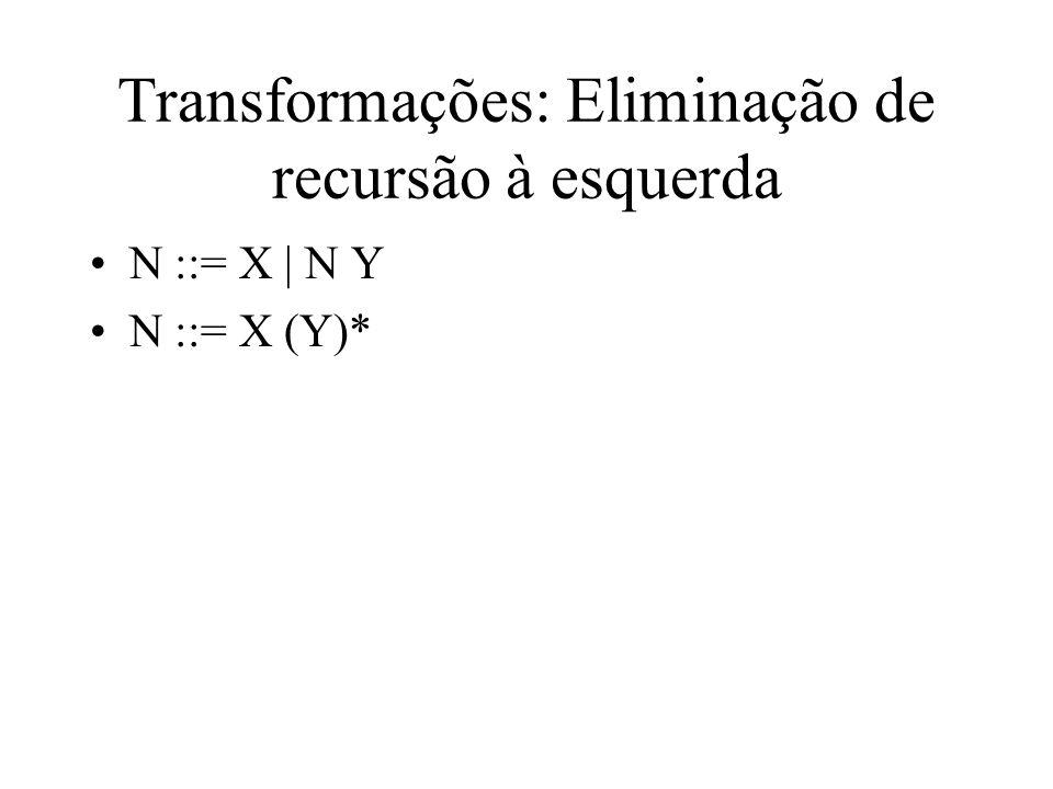Transformações: Eliminação de recursão à esquerda