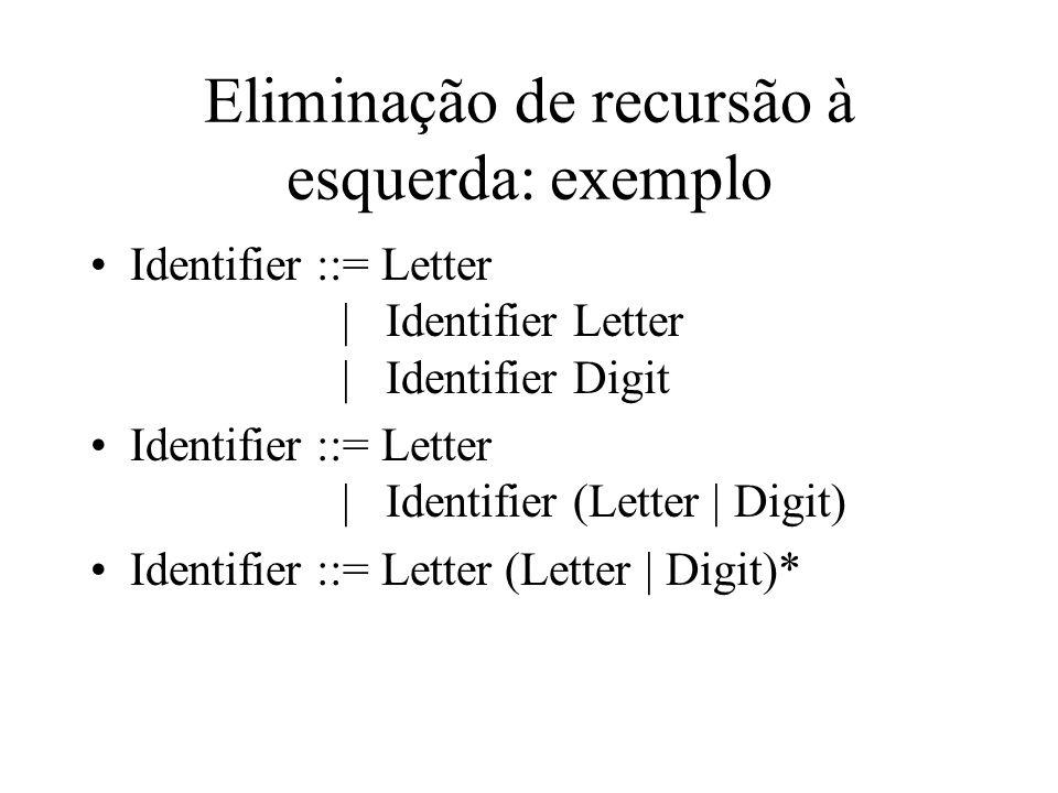 Eliminação de recursão à esquerda: exemplo