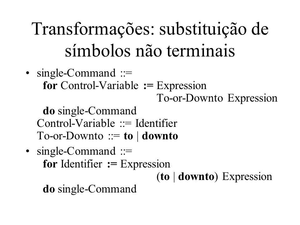 Transformações: substituição de símbolos não terminais