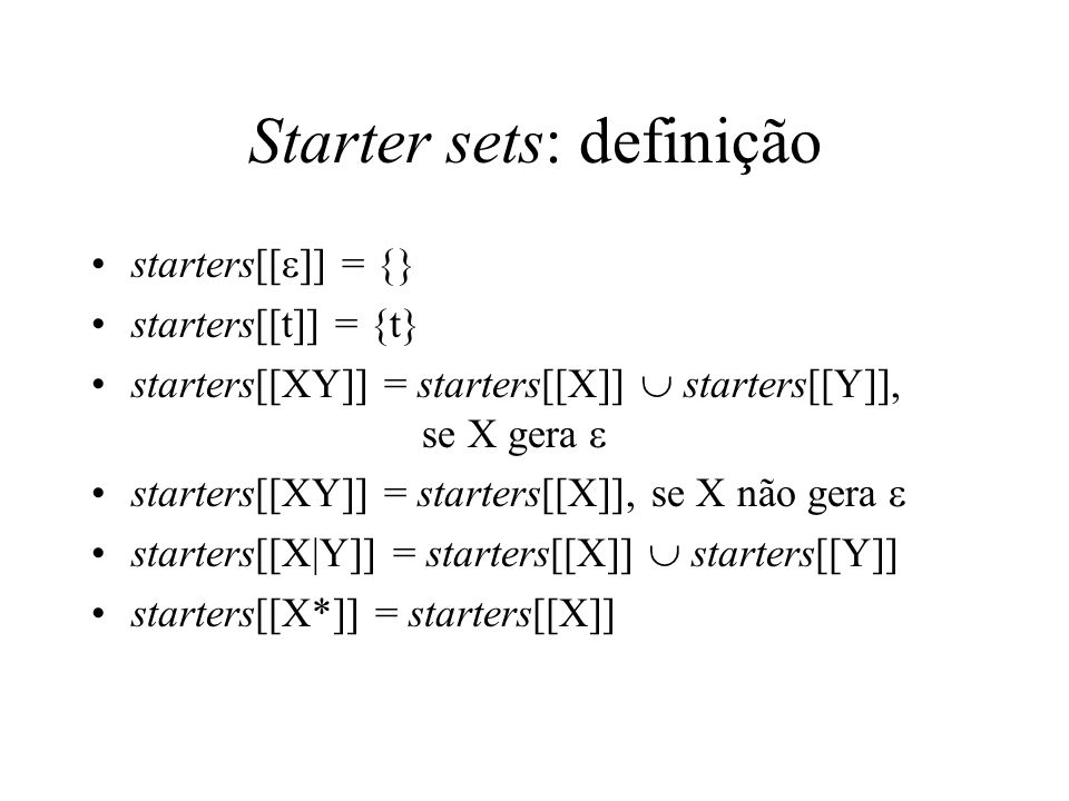 Starter sets: definição