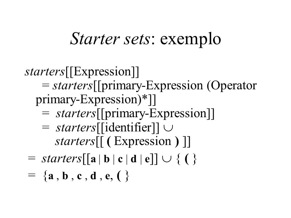 Starter sets: exemplo