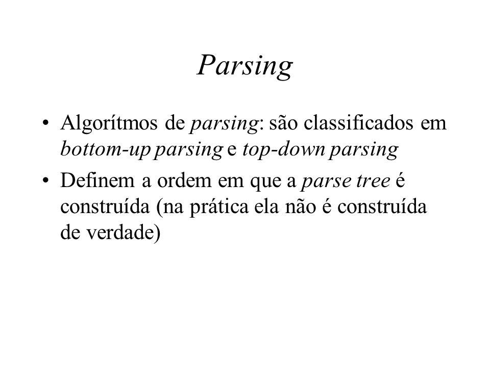 Parsing Algorítmos de parsing: são classificados em bottom-up parsing e top-down parsing.