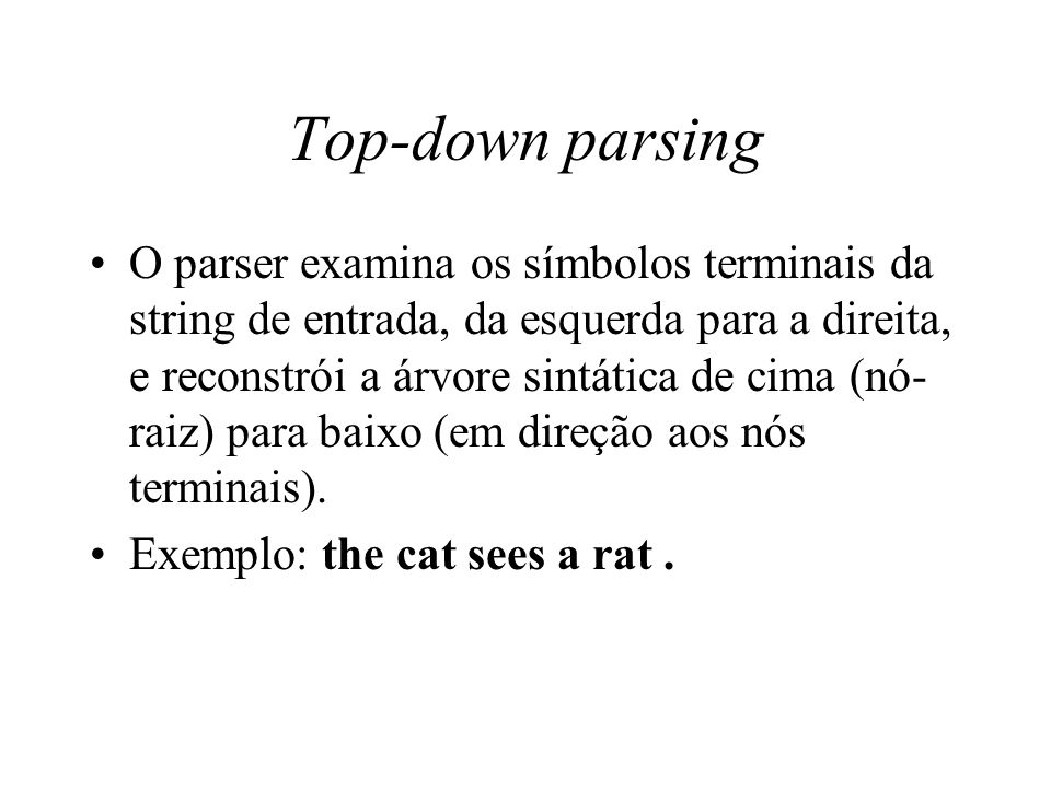 thesis on top-down parsing As a top-down parser for cf grammars for experimental purposes in opposed to bottom-up parsing top-down parsing this thesis attempts to revisit a.