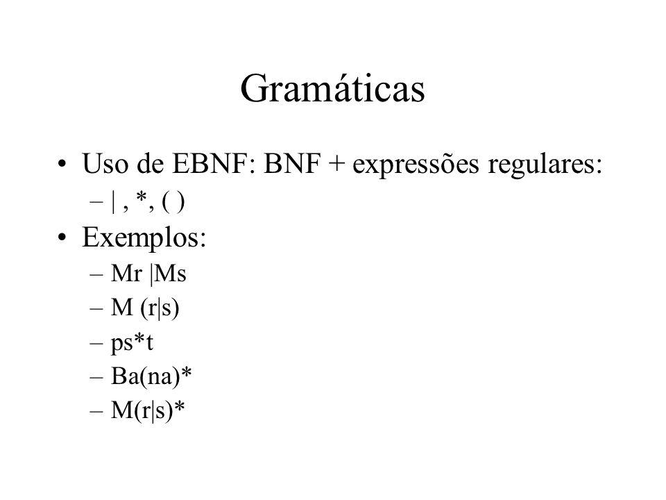 Gramáticas Uso de EBNF: BNF + expressões regulares: Exemplos: