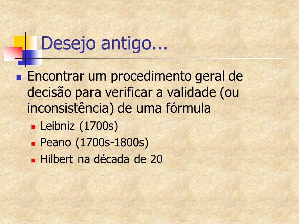 Desejo antigo... Encontrar um procedimento geral de decisão para verificar a validade (ou inconsistência) de uma fórmula.