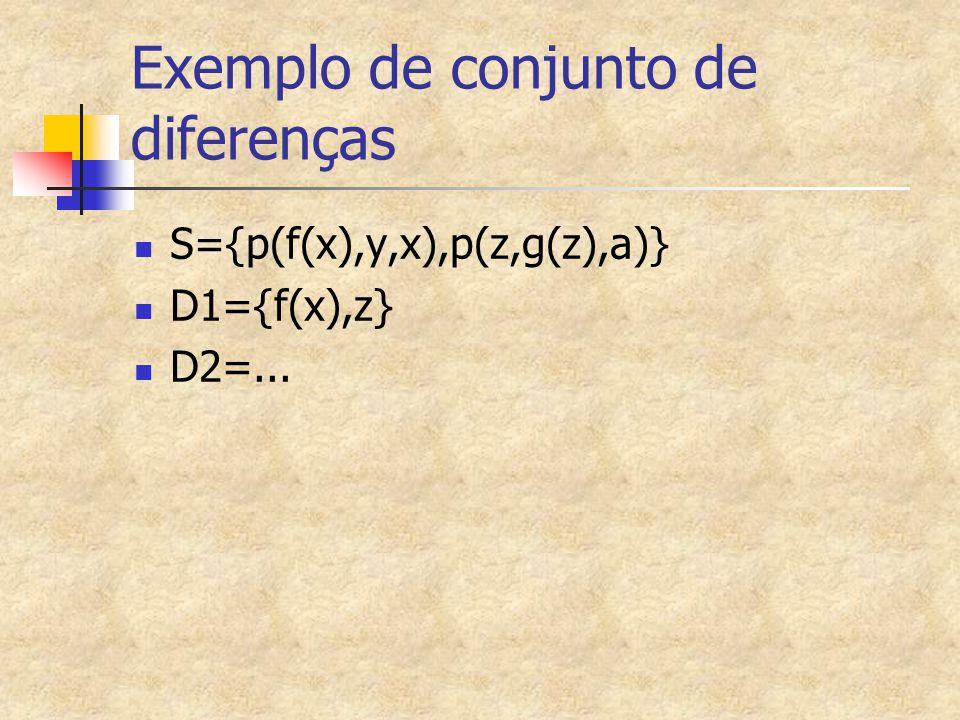 Exemplo de conjunto de diferenças