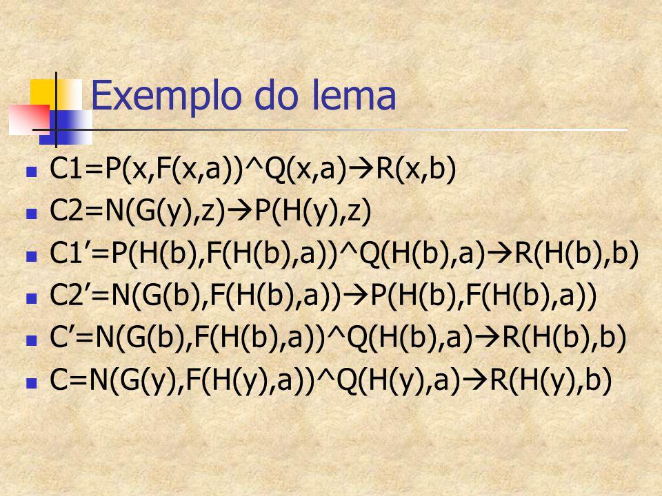 Exemplo do lema C1=P(x,F(x,a))^Q(x,a)R(x,b) C2=N(G(y),z)P(H(y),z)