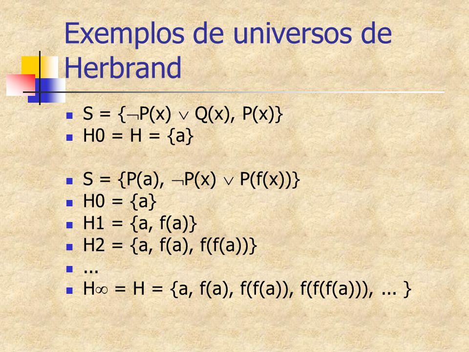 Exemplos de universos de Herbrand