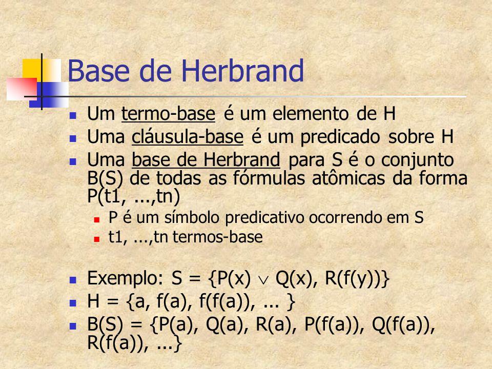 Base de Herbrand Um termo-base é um elemento de H