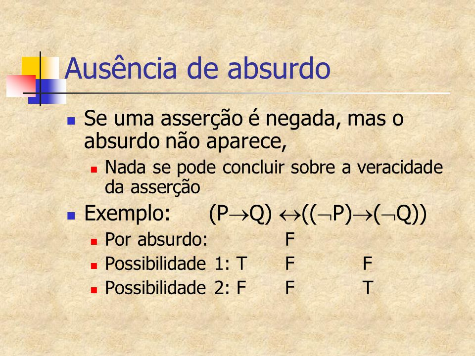 Ausência de absurdo Se uma asserção é negada, mas o absurdo não aparece, Nada se pode concluir sobre a veracidade da asserção.