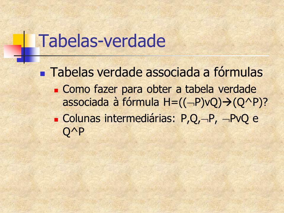 Tabelas-verdade Tabelas verdade associada a fórmulas