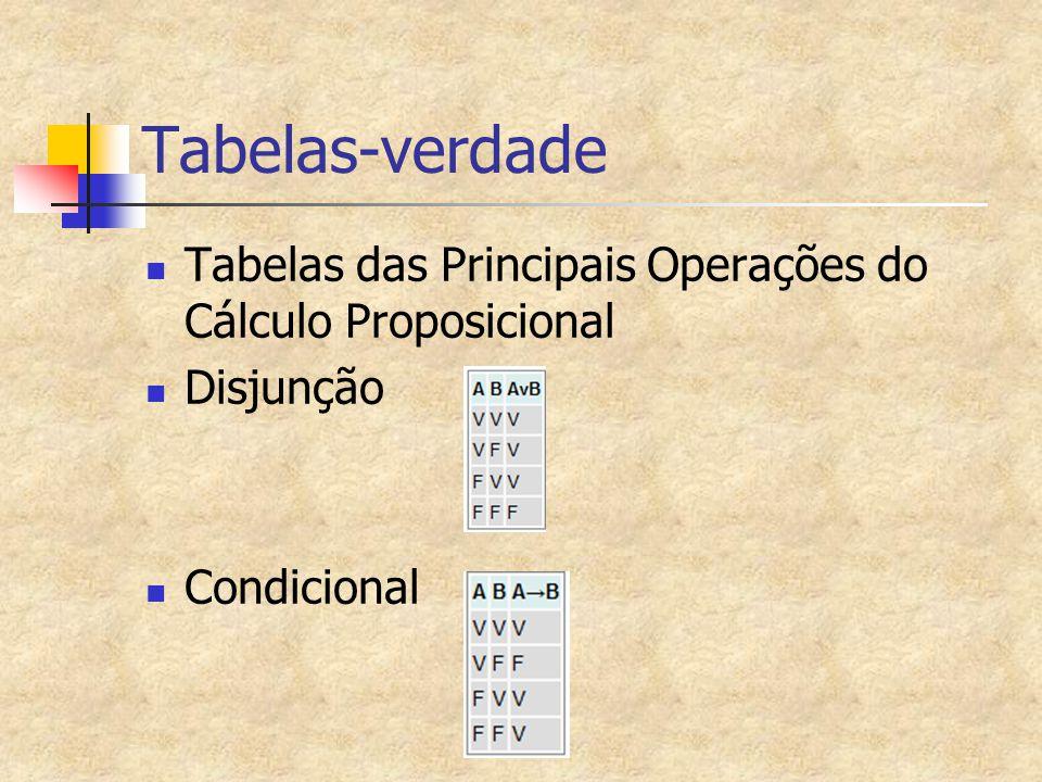 Tabelas-verdade Tabelas das Principais Operações do Cálculo Proposicional Disjunção Condicional