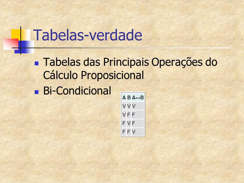 Tabelas-verdade Tabelas das Principais Operações do Cálculo Proposicional Bi-Condicional
