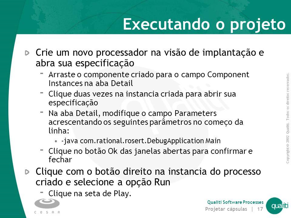 Executando o projeto Crie um novo processador na visão de implantação e abra sua especificação.