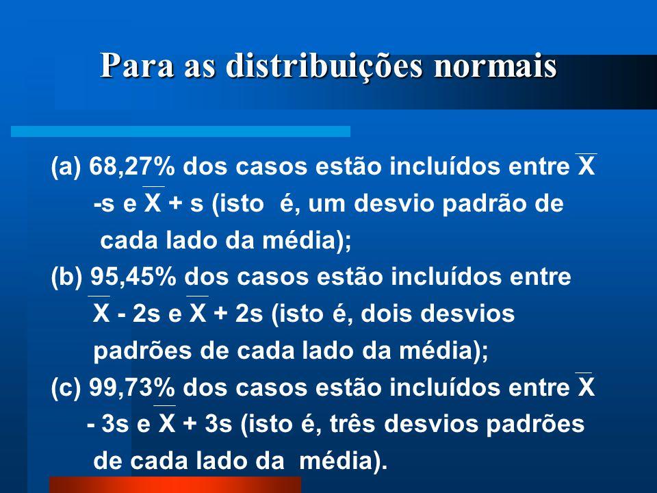 Para as distribuições normais