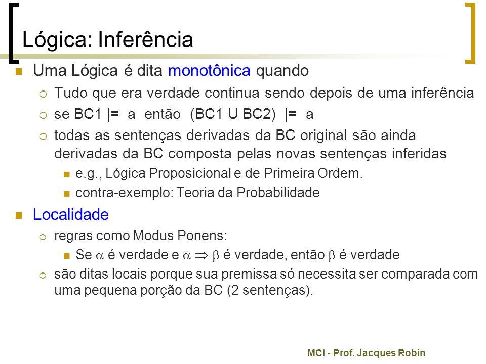 Lógica: Inferência Uma Lógica é dita monotônica quando Localidade
