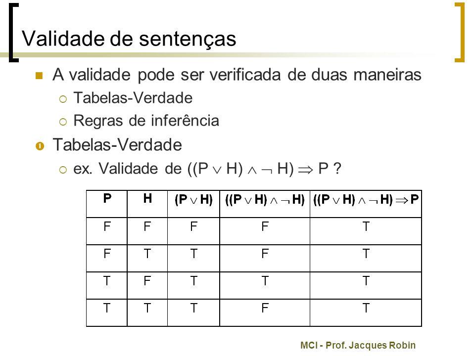 Validade de sentenças A validade pode ser verificada de duas maneiras