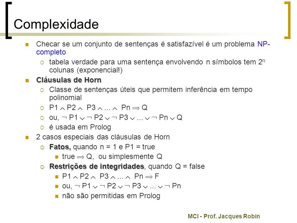 Complexidade Checar se um conjunto de sentenças é satisfazível é um problema NP-completo.