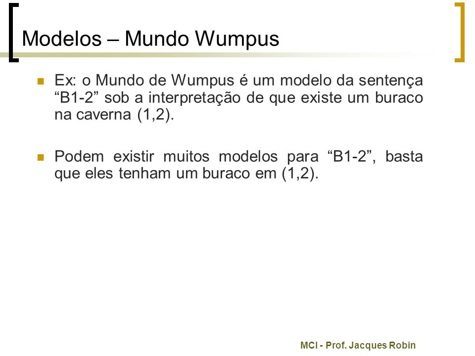 Modelos – Mundo Wumpus Ex: o Mundo de Wumpus é um modelo da sentença B1-2 sob a interpretação de que existe um buraco na caverna (1,2).