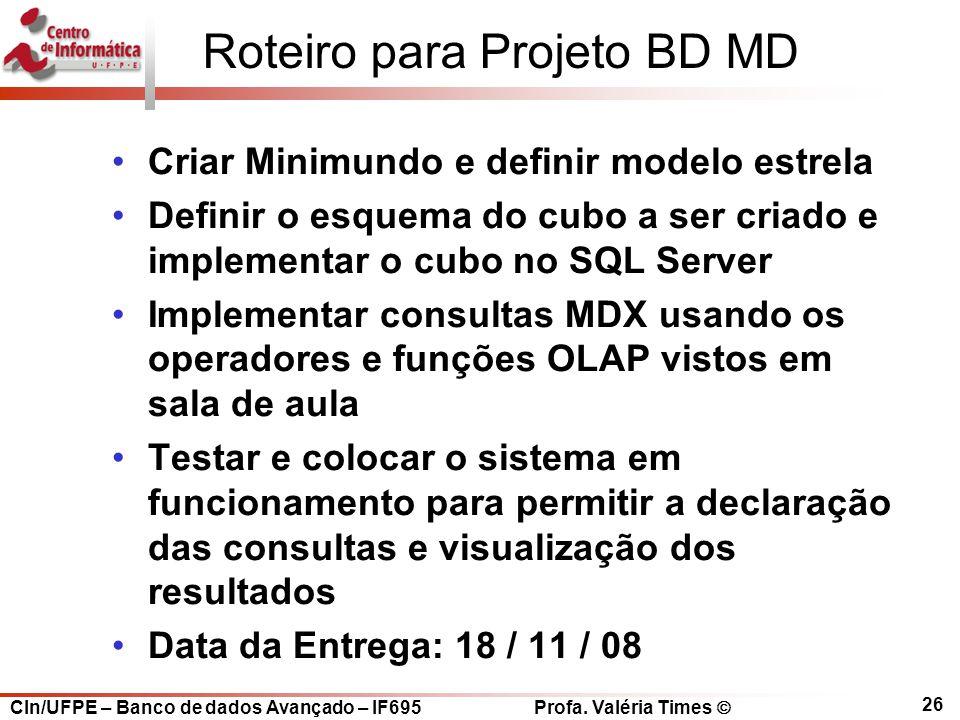 Roteiro para Projeto BD MD