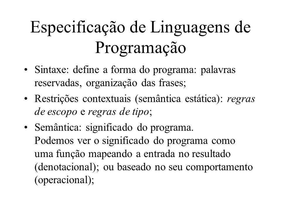 Especificação de Linguagens de Programação