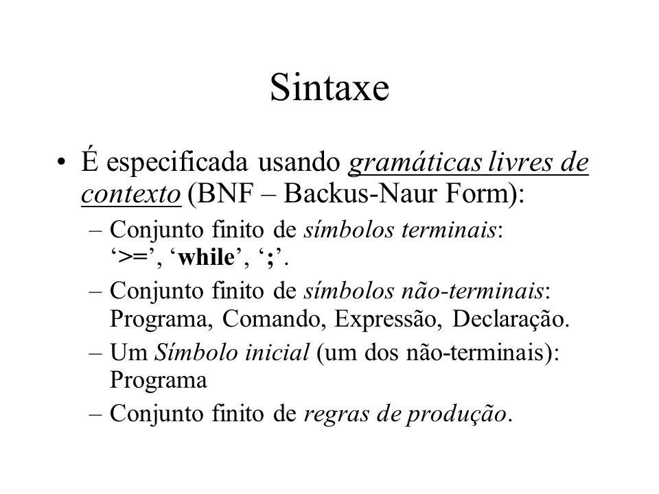 Sintaxe É especificada usando gramáticas livres de contexto (BNF – Backus-Naur Form): Conjunto finito de símbolos terminais: '>=', 'while', ';'.