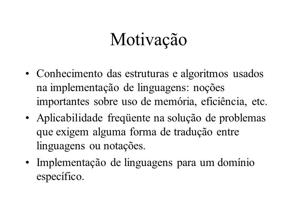 Motivação Conhecimento das estruturas e algoritmos usados na implementação de linguagens: noções importantes sobre uso de memória, eficiência, etc.