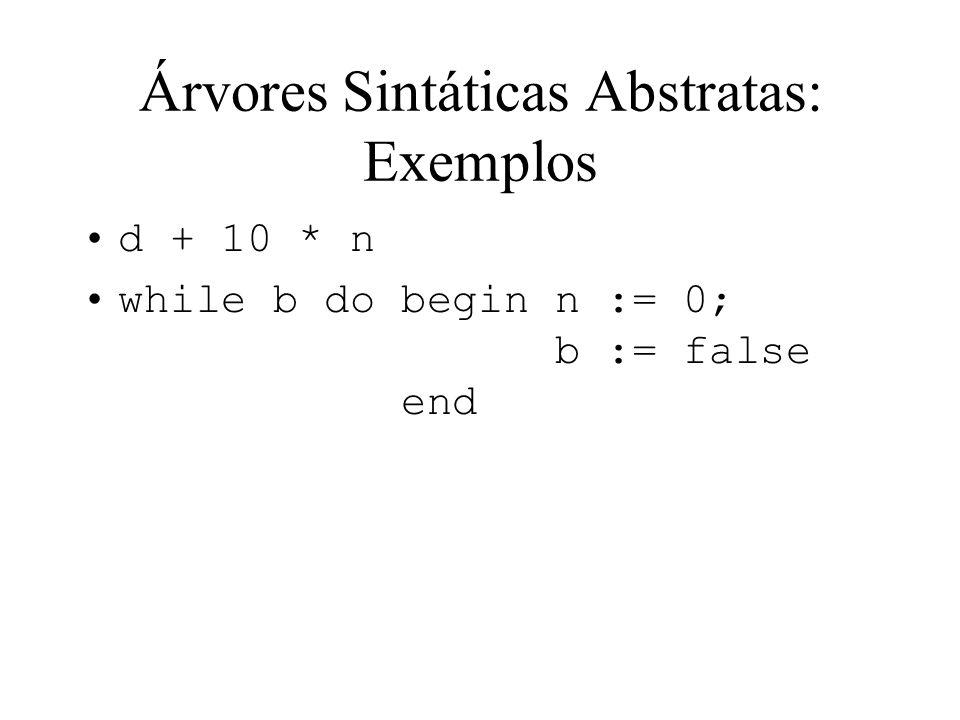 Árvores Sintáticas Abstratas: Exemplos
