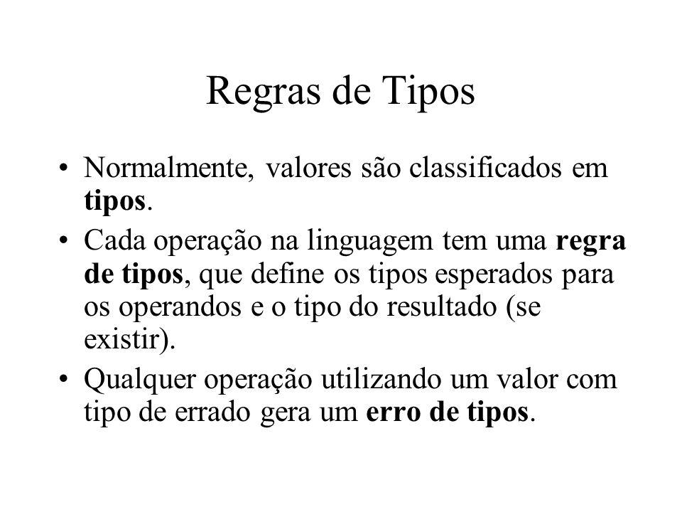 Regras de Tipos Normalmente, valores são classificados em tipos.