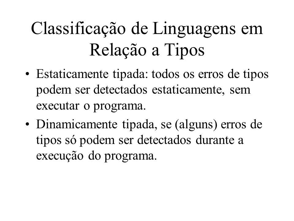 Classificação de Linguagens em Relação a Tipos