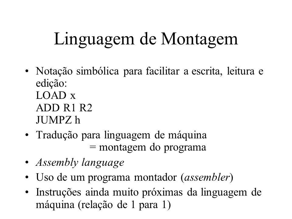 Linguagem de Montagem Notação simbólica para facilitar a escrita, leitura e edição: LOAD x ADD R1 R2 JUMPZ h.