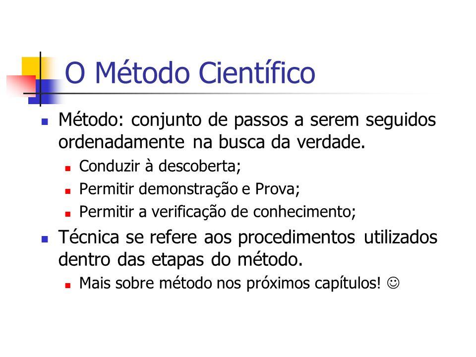 O Método Científico Método: conjunto de passos a serem seguidos ordenadamente na busca da verdade. Conduzir à descoberta;